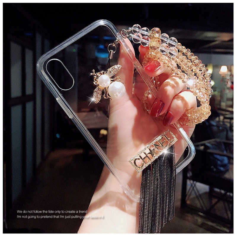 Fashion Luxury Brand 3D Pearl Diamond Bee soft case for iphone 5 5s se 6 6s 7 8 plus X XS MAX XR SEXY  lovely cute cover