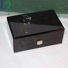 Высококачественный полированный большой Наклонный рот деревянная коробка бизнес подарочная упаковка Чехол коробки для наручных часов для хранения ювелирных изделий Подарочный дисплей