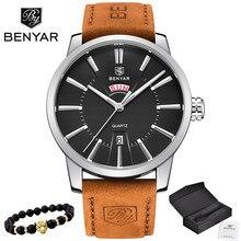 Новинка 2019 года Элитный бренд BENYAR для мужчин Спорт часы для мужчин кварцевые часы человек армии Военная Униформа кожа синий наручны