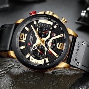 Image 4 - CURREN ספורט שעון גברים למעלה מותג יוקרה הכרונוגרף גברים שעונים עור אופנה קוורץ גבר שעון עמיד למים שעוני יד