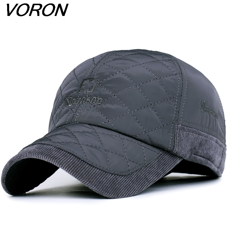 VORON 2017 Warm Winter Baseball Cap Men Brand Snapback Black Solid Bone Baseball Mens Winter Hats Ear Flaps ht647 warm winter leather fur baseball cap ear protect snapback hat for women high quality winter hats for men solid russian hat