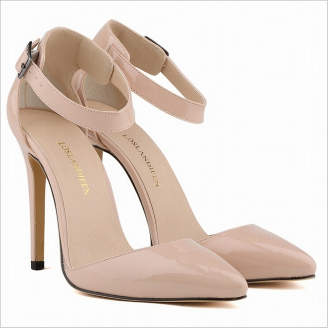 Mujeres bombas de punta estrecha Sexy 11 cm High Heels Faux Suede tobillo correa Zapatos de Mujer negro, albaricoque Size35-40 Zapatos de Mujer