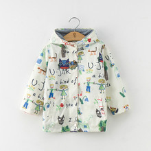 Girls coat new fashion spring and autumn children's jacket sun protection clothing printing cartoon children's windbreaker