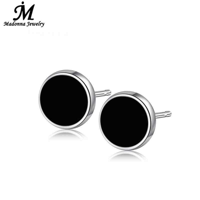 2017 Classic Unisex Men Women cartilage Black  Stud Earrings Korean Style Fashion Circle Silver Ear Jewelry wholesale