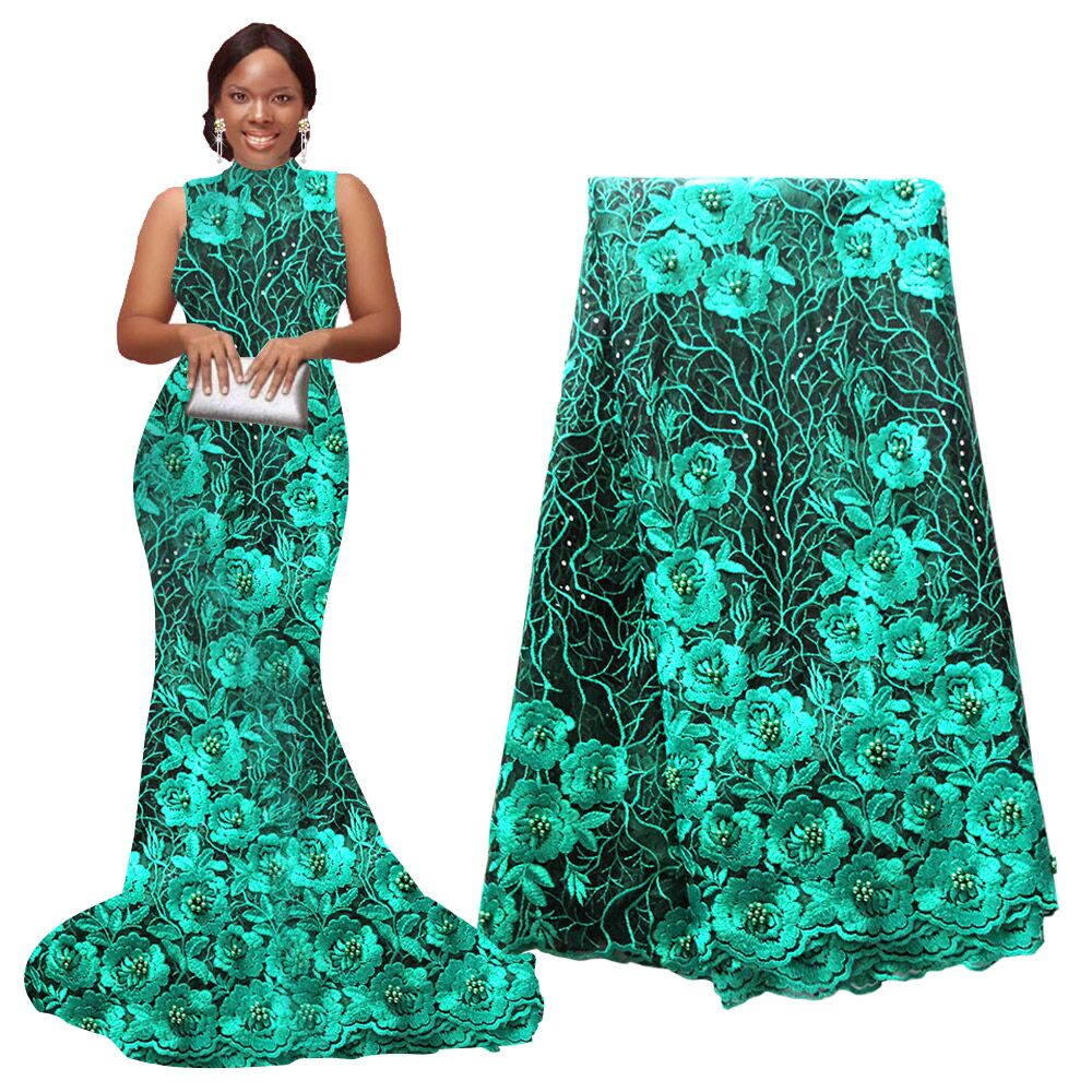 Ourwin New African Lace Fabric High Quality Indian Embroidery For Wedding Party Nigerian 5 yards piece
