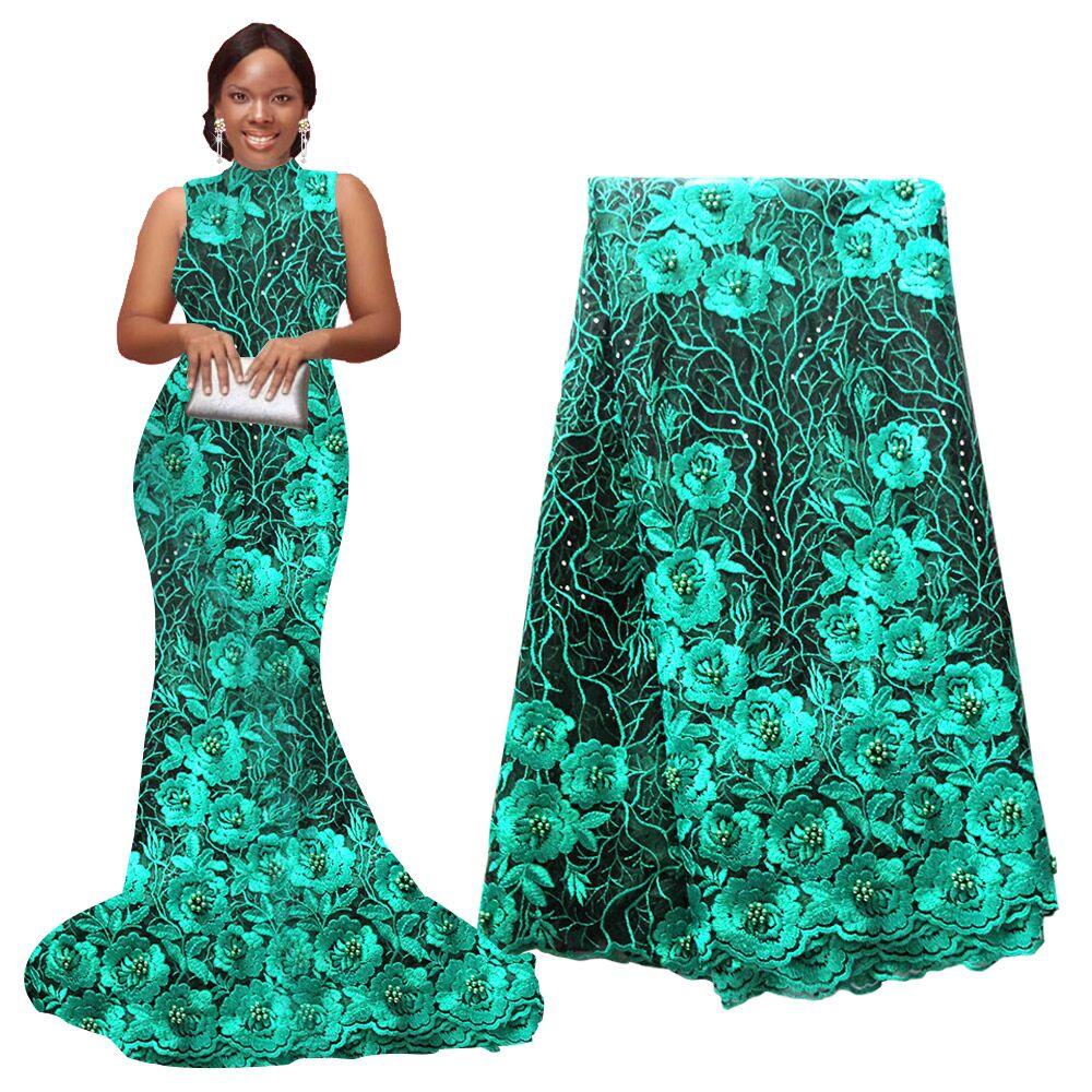Ourwin novo africano tecido de renda alta qualidade indiano bordado para festa casamento nigeriano 5 metros/peça renda tule malha tecido