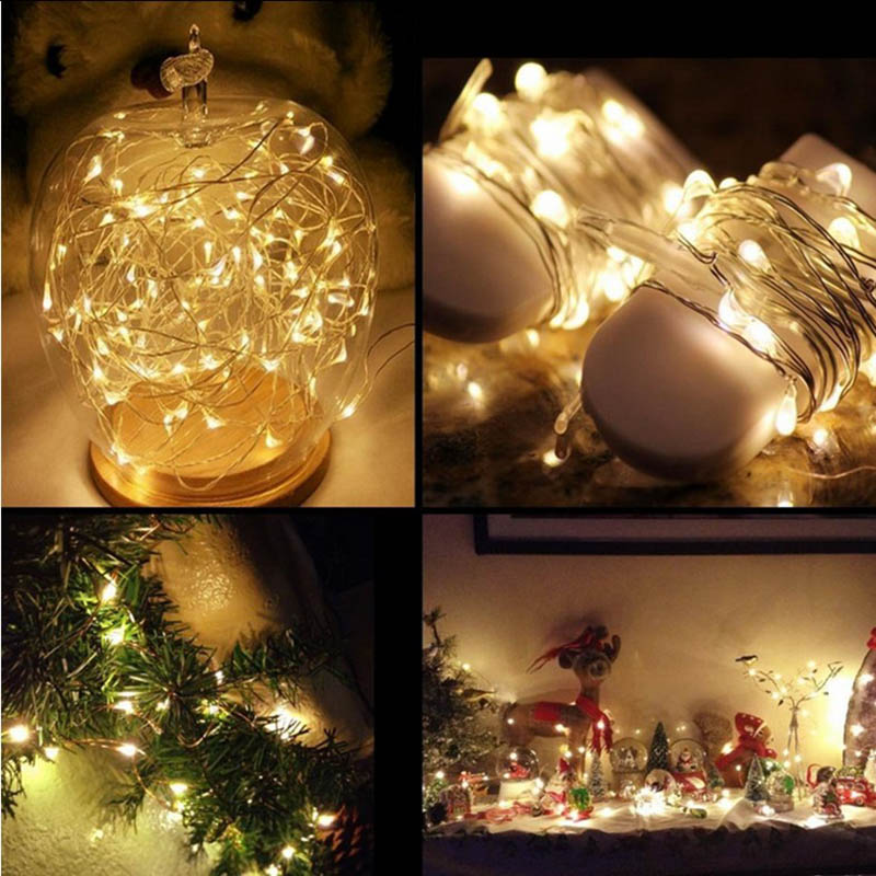 waterproof led string lights outdoor christmas decorations battery operated copper wire pardy fairy curtain wedding light string in lighting strings from