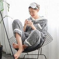 Kadın Pijama Set Tatlı Nakış Pazen Kukuletalı Uzun Kollu Termal Ev Suit