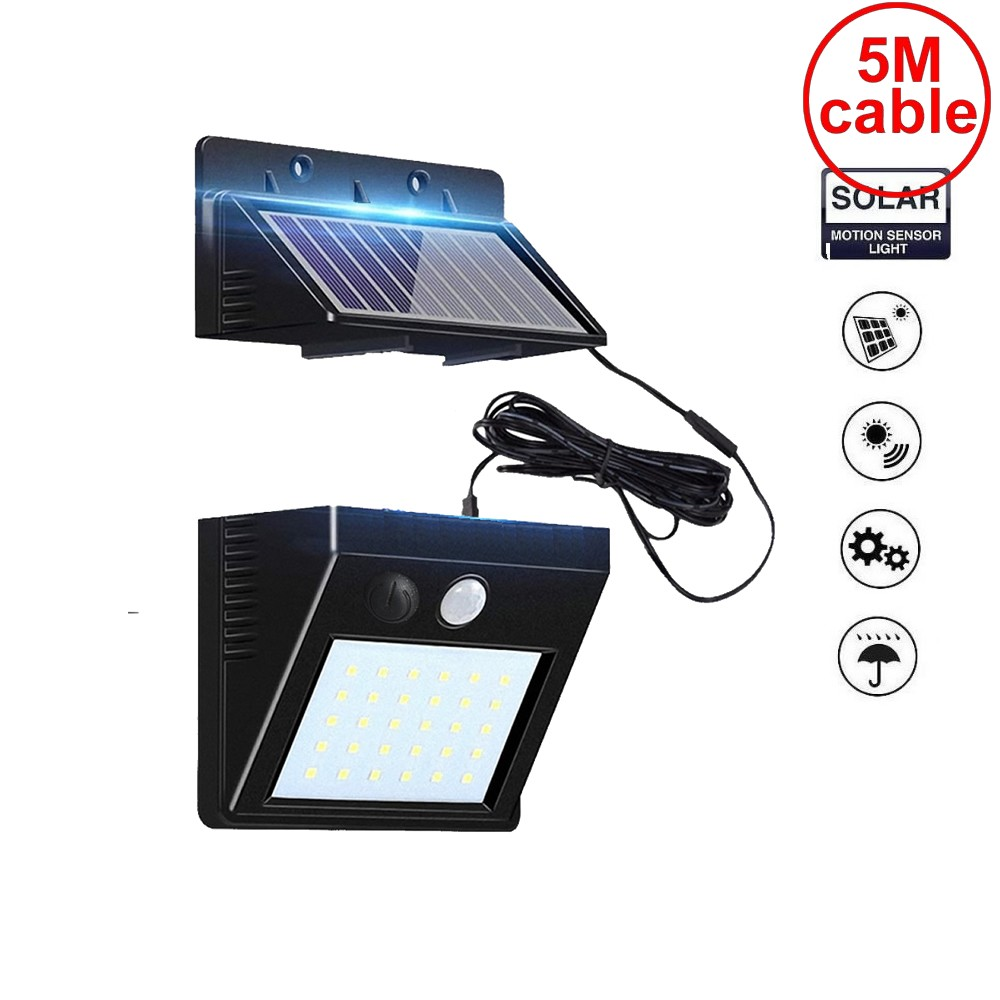 <font><b>30</b></font> <font><b>leds</b></font> <font><b>solar</b></font> light split mounting pIR motion sensor <font><b>led</b></font> indoor outdoor lamp waterproof ip65 for street garden patio home camps image