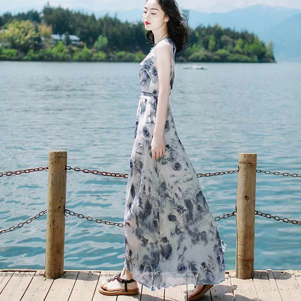 Dress Women Fashion Summer Bandage Long Sundress Mid-calf Sleeveless Beach Printing Elegant Maxi Dress Vestidos #d7