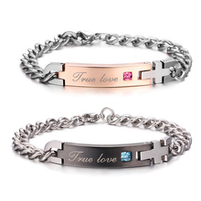 """""""True Love"""" Real Love Couple Bracelets Stainless Steel Bracelets For Lover Jewelry Valentine's Day Gifts"""