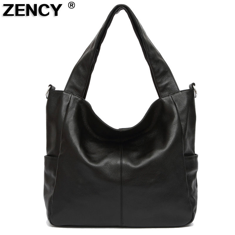 ZENCY New Large Vera Borse in vera pelle Luxury Famous Brands Donna Ladies Satchel Messenger Messenger Nero / Caffè / Marrone
