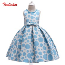 Summer Kids Girls Wave Point Dress Princess Bow-Knot Nail Bead Birthday Wedding Theme Party Ball Gown