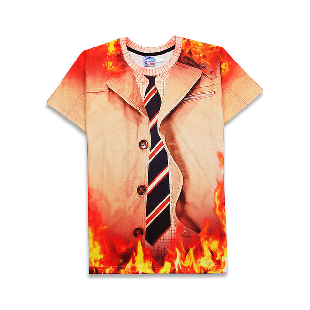 New Faux Real Necktie Cartoon Fire 3d Print T Shirt Funny Formal