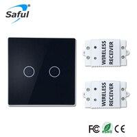 Saful Wireless Luxury Wall Switch 2 Gang 2 Way Push Button Light LED Indicator Wireless Remote