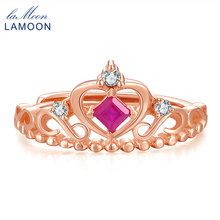 LAMOON- Silver 925 Jewelry Princess Cut 0.2ct 100% Real Ruby Natural Gemstone Luxury S925 Wedding Ring LMRI013