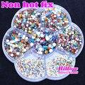 2600 pçs/lote color mix com caixa de embalagem 7 tamanhos de strass não hotfix nail art rhinestones fornail art diy telefone decorationb0702