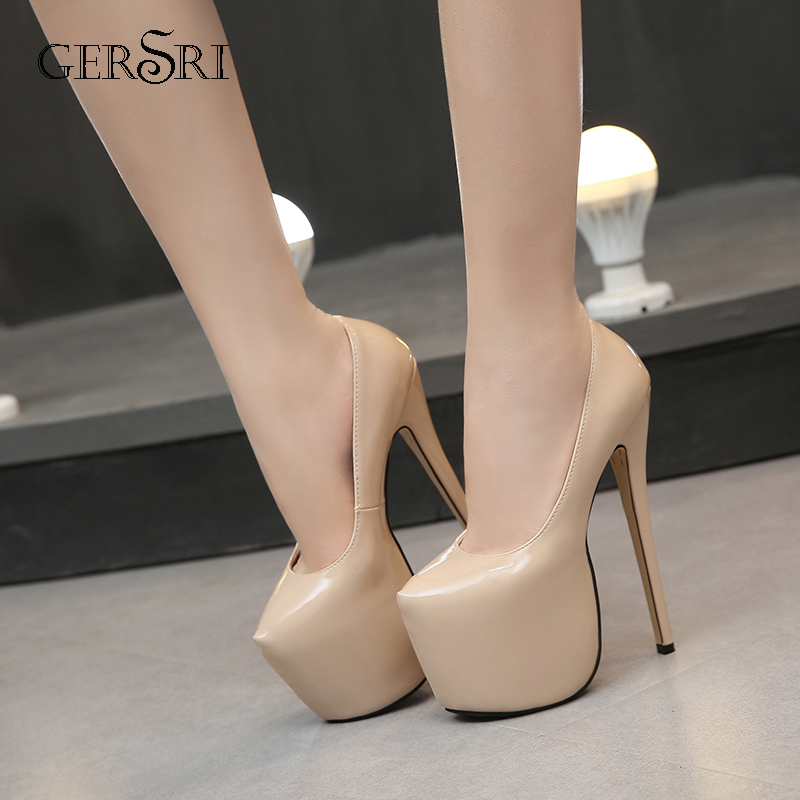 Gersri 18cm High Heels Model Car Show Nightclub Pumps Sexy Steel Tube Dancing Stilettos Plus Size 35-44 Women Shoes Sandals