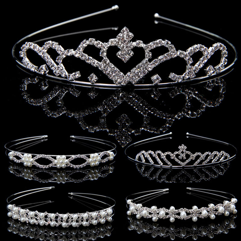 Bridal Wedding Princess Prom Rhinestone Faux Pearl Hair Headband Crown Tiara