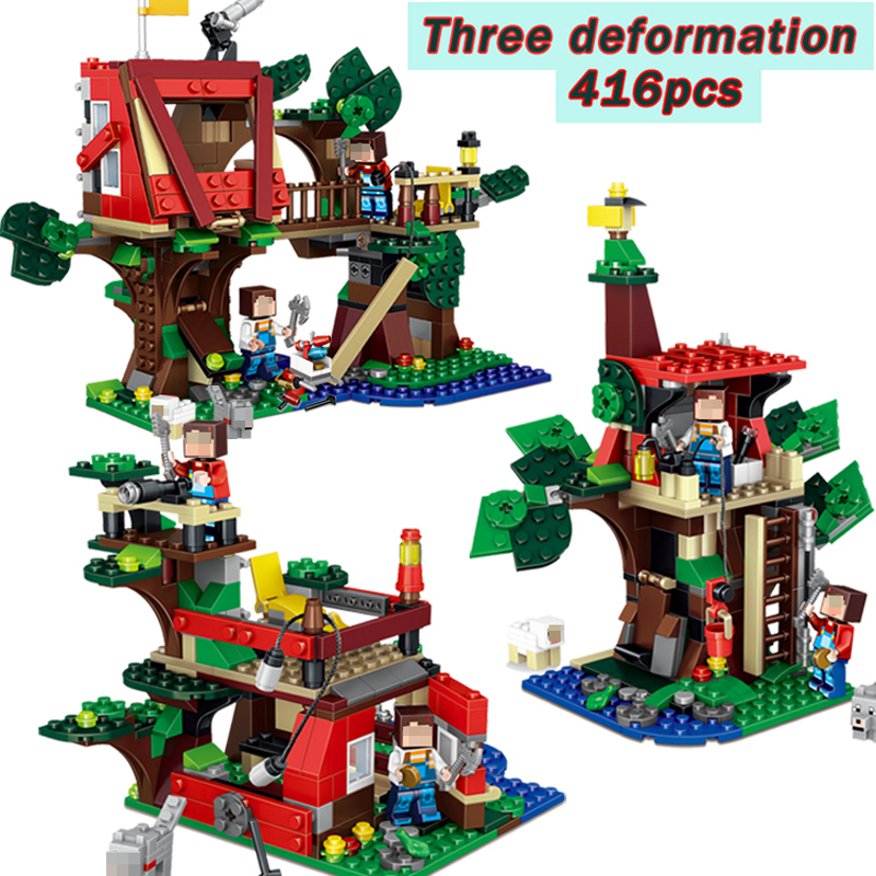 Qunlong 416 Pcs Minecraft MY World 3 in 1 Tree House Building Blocks Set Brick Action Figure Toys Gift Compatible Legoed Brand