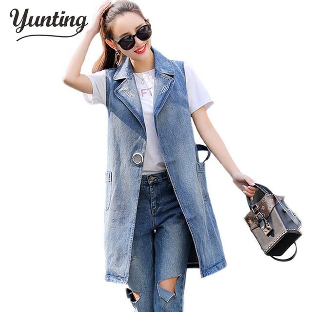 9ba4155c31 2019 Summer Jacket Sleeveless Cardigan Ladies Jeans Waistcoats Long Denim  Vest Women Plus Size S-3XL