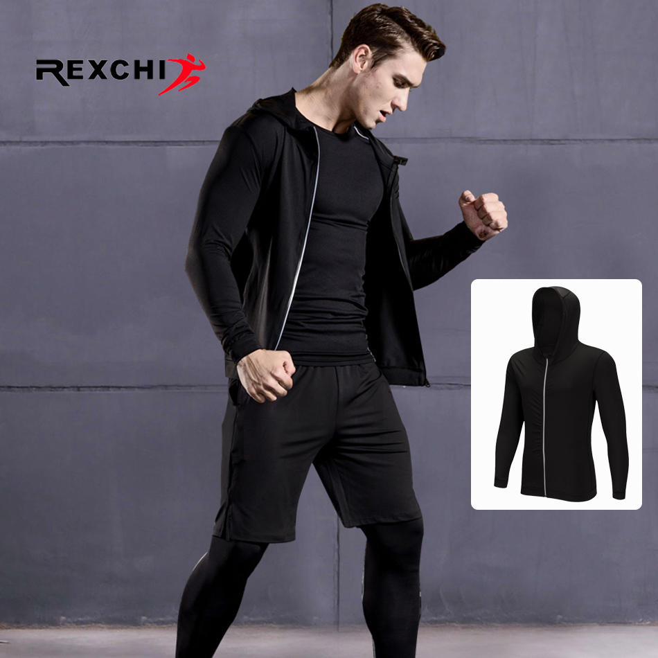 Men Sports Long Sleeves Coat Compression Cover Outdoor Running Jogging Clothes Gym Fitness Training Workout Tights Costume