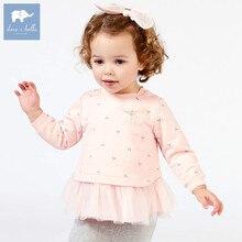 DB7371 dave bella/Весенняя модная футболка с принтом бабочки для маленьких девочек Детские хлопковые милые топы, Детская футболка высокого качества
