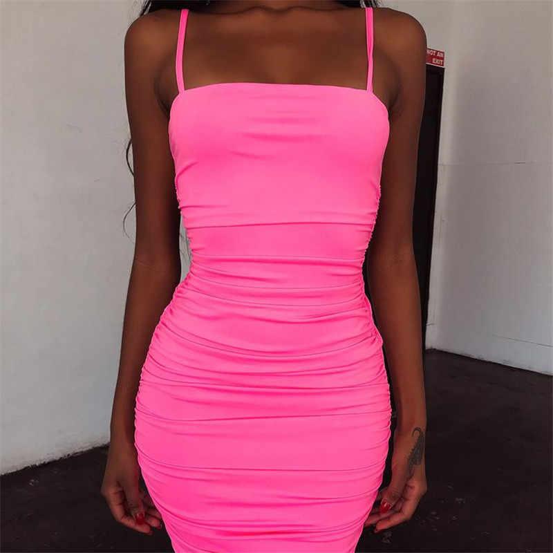 BOOFEENAA неоновое розовое зеленое облегающее Бандажное платье пикантные вечерние платья для ночного клуба для женщин Ruched Спагетти ремень миди платье C83AZ9