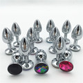 Metal Anal Plug 7.5*2.8cm Butt Plug Metal Booty Beads Stainless Steel+Crystal Jewelry Sex Toys Adult Sex Products Anal Toys