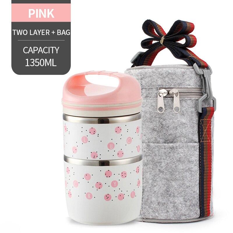 Милые детские Термальность Коробки для обедов герметичность Нержавеющая сталь Bento box для детей Портативный Пикник школа Еда контейнер Box - Цвет: NO. Pink 2 With Bag