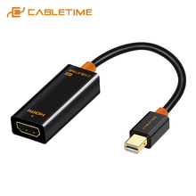 CABLETIME Thunderbolt Mini DP To HDMI Adapter Male-Female 4K Mini Display Port to HDMI Cable for PC Macbook Pro Lenovo 4k C063 aiffect 4k mini dp to hdmi cable mini displayport to hdmi cable thunderbolt port hdmi mini dp cable cord line premium version