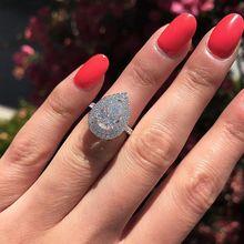 Обручальное кольцо Huitan в форме капли воды, модное кольцо в форме груши, кубический циркон, камень с покрытием из серебра, юбилейное кольцо