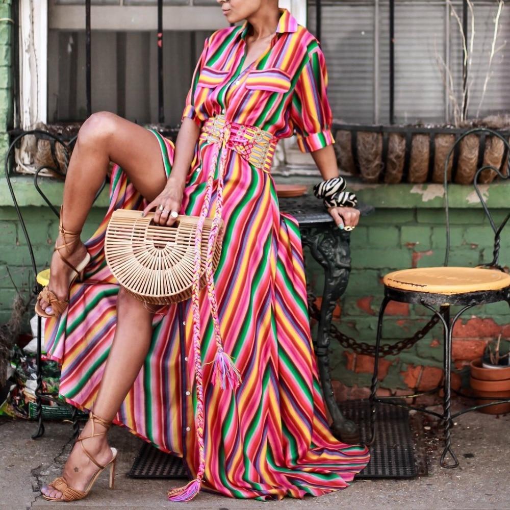 Dropshipping 2018 Summer New Arrival Button Down Collar Stripes Roll Up Sleeve Half Sleeve Maxi Dresses Women Long Dress