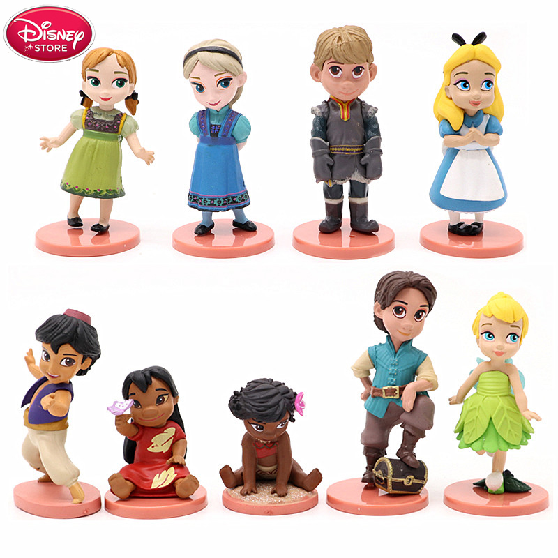 Disney Princess Frozen Moana Vaiana Tinker Bell Alice Elsa Anna Action Figure For Kids Girls Gifts PVC Model Collection Toys