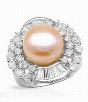 2254 Round Pearl Solid White Gold Natural Semi Mount Ring