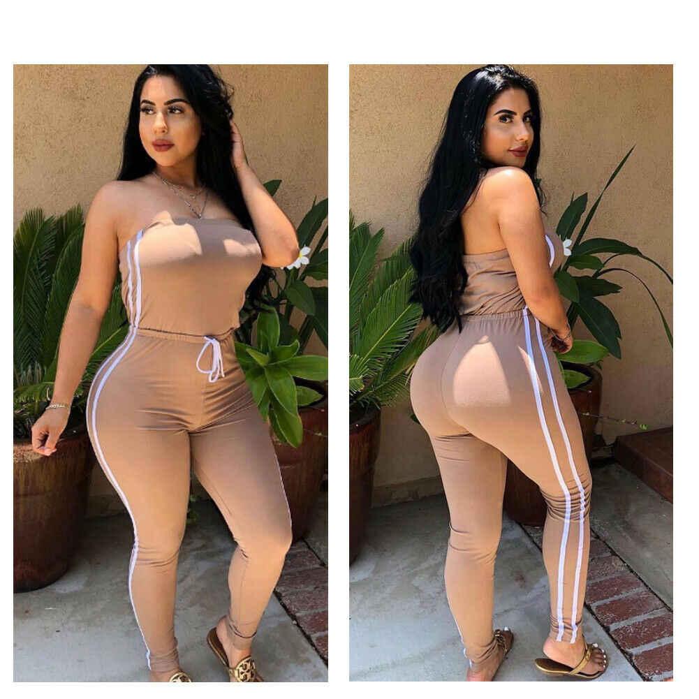 2019 w nowym stylu kobiety kombinezony moda bez ramiączek jednolity na co dzień długie kombinezony Skinny pajacyki Patchwork lato kostiumy kąpielowe