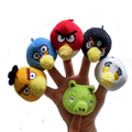 6Pcs/set 7cm Cute Animal Red Yellow Green Birds Pig Colorful Finger Puppets Play Game Montessori Educational Tell Story Toys