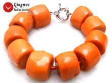 Браслет женский из натурального оранжевого коралла 20 30 мм