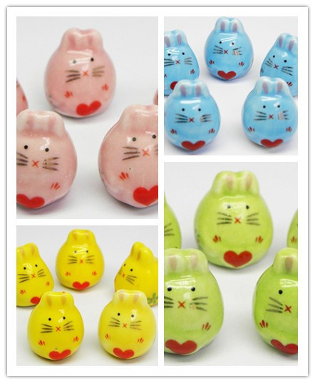Ceramic powder bead wholesale love rabbit 18 * 16 mm jewelry accessories pink blue green yellow and PCS/lot free shipping