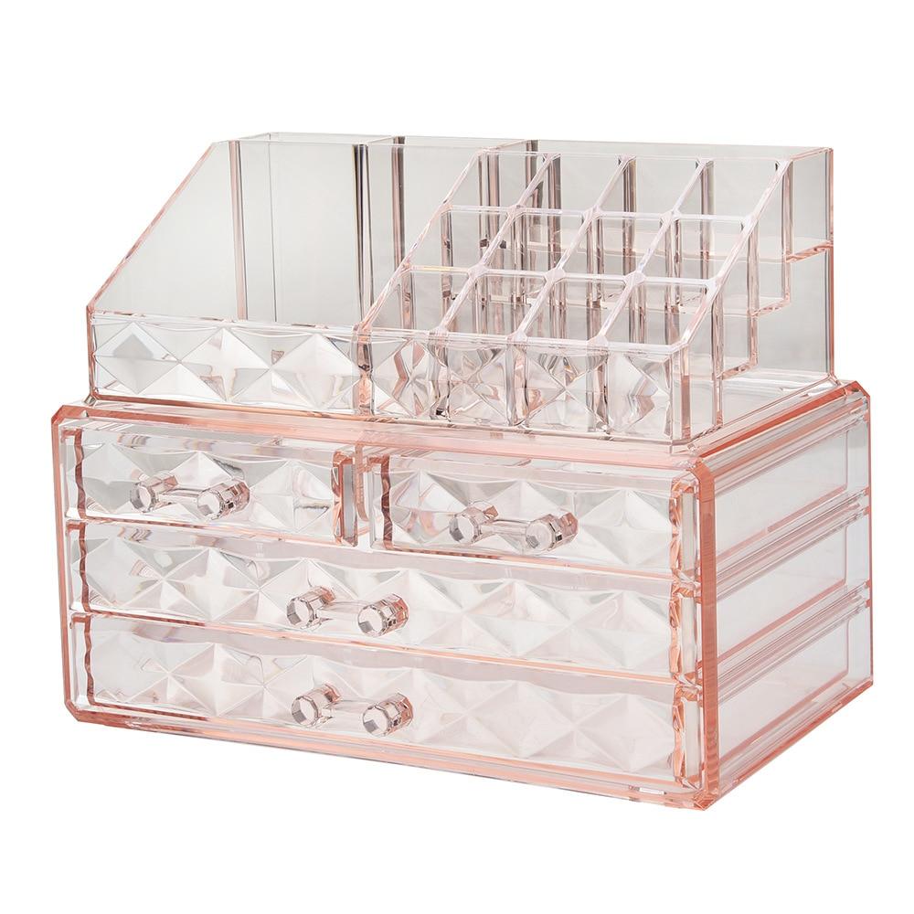 1PC Transparent Makeup Jewelry Acrylic Storage Box Make Up Cosmetic Organizer Storage Drawers Lipstick Gloss Holder OK 0698