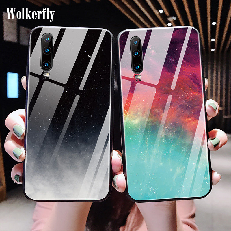 Star Space Glass <font><b>Case</b></font> For <font><b>Huawei</b></font> Mate 20 10 P30 P20 Lite Pro P Smart Plus Y5 Y6 <font><b>Y7</b></font> Y9 <font><b>2019</b></font> Nova 3i Honor 10i 8X 7A 20 Pro <font><b>Case</b></font> image