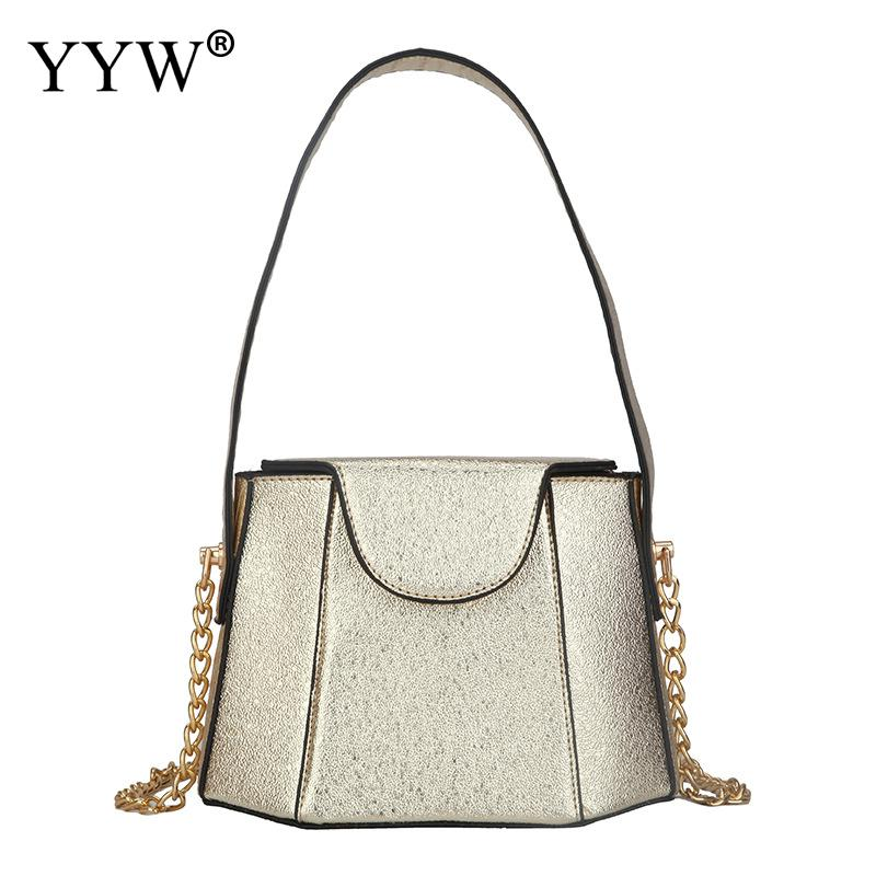 PU Leather Vintage Bucket Bags For Women Handbag Wholesale Small Women'S Bag With Chain Embossing Shoulder Bag Gold Handbags