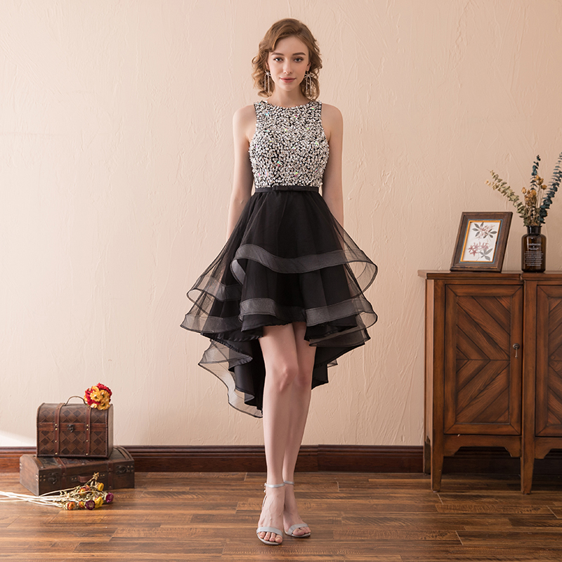 2018 Elegant Woman Short Cocktail Dress Silver Sequin High Low Black Tulle knee  Length Summer Party Dresses  Front Short Low