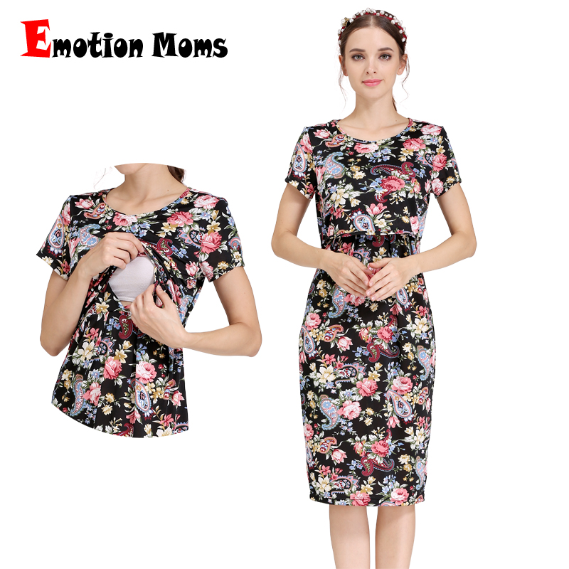 Emotion Moms Summer Casual Maternity Clothes Nursing Clothing Nursing Dress Pregnancy Dresses For Pregnant Women Maternity Dress