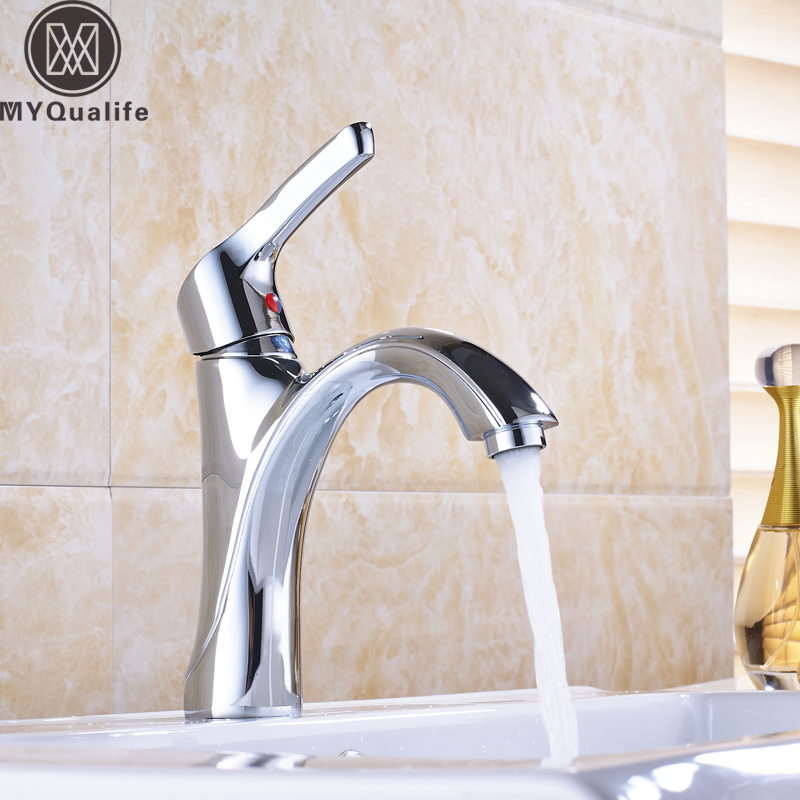 Free Shipping Chrome Basin Faucet One Hole Single Lever with Hot and Cold Hoses Vessel Sink Water Taps