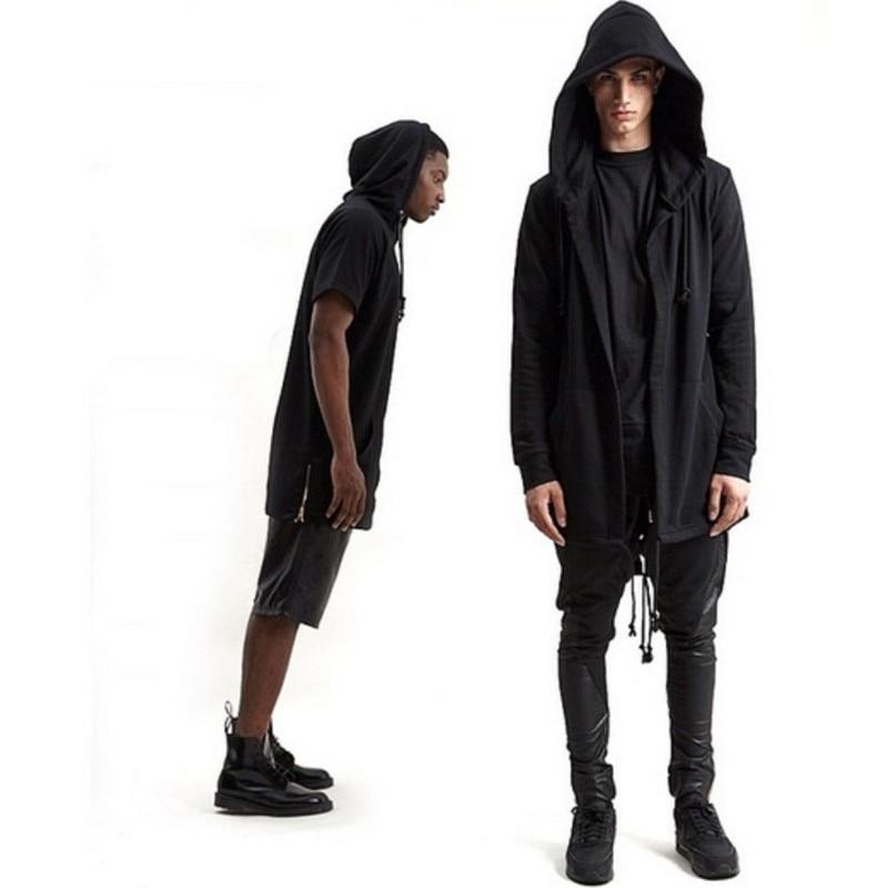 Lange Hoodie Heren.Bigbang Kleding Hip Hop Mens Jassen Paar Outfits Zwart Wit