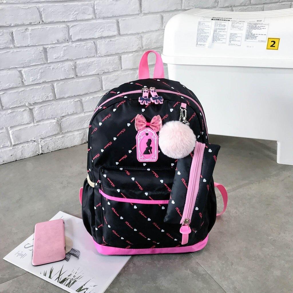 Women Bow Canvas Three-piece School Bag 25