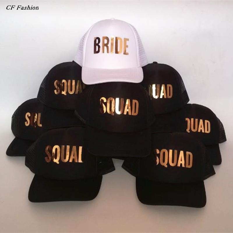 Detail Feedback Questions about C Fung Bride SQUAD Tribe Bachelorette Hats  fashion Wedding Preparewear Trucker Caps White Neon Summer Mesh Free  Shipping on ... babac21998b7