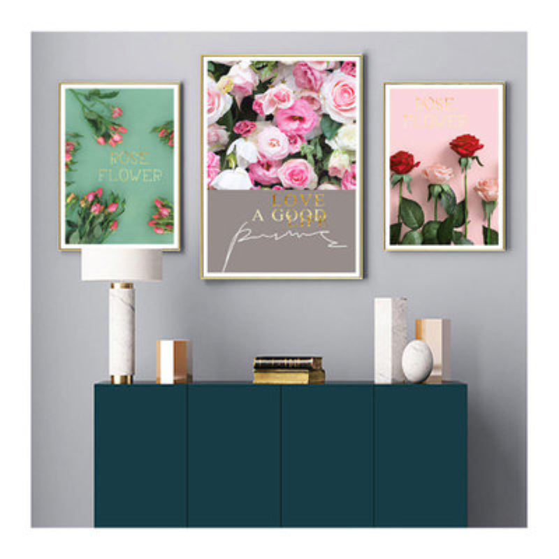 Nordic Creative Beautiful Rose Flower Wall Art Canvas Painting Poster Modern Picture No Frame Bedroom Home Decor