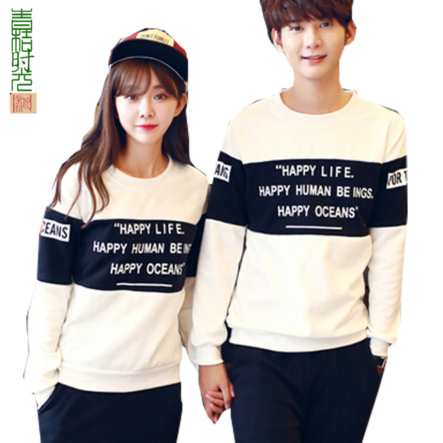 Hot Cute Sweet Korean Couple Clothes Fashion Tops Cotton Letter Printed Long Sleeve ...
